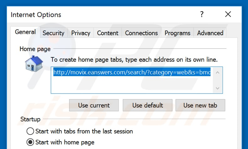 Removing eanswers.com from Internet Explorer homepage