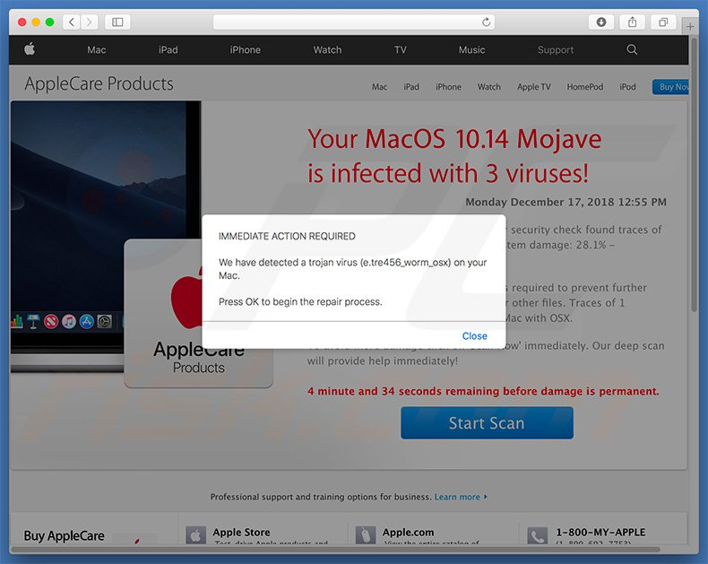 e.tre456_worm_osx Trojan Virus pop-up