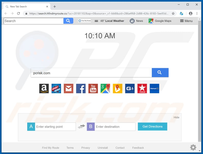 search.hfindmyroute.co browser hijacker