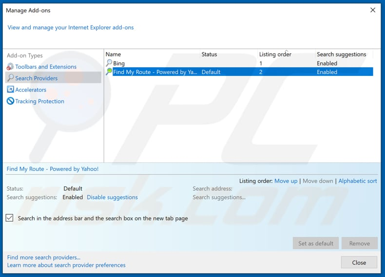 Removing search.hfindmyroute.co from Internet Explorer default search engine