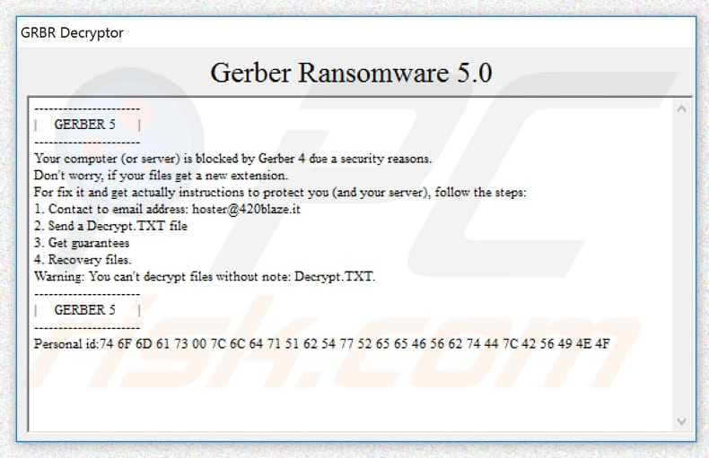 Gerber decrypt instructions