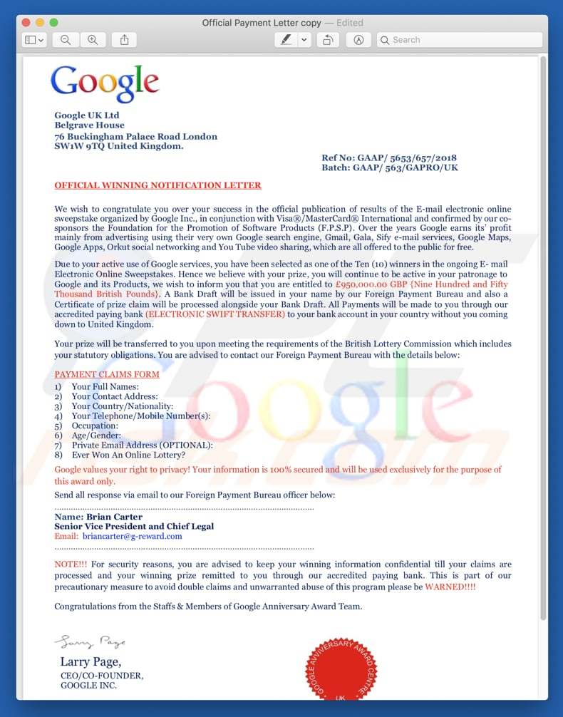 How to remove Google Winner Email Scam - virus removal guide (updated)