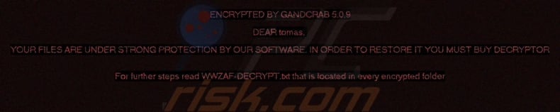 screenshot of a GandCrab 5.0.9 ransom note