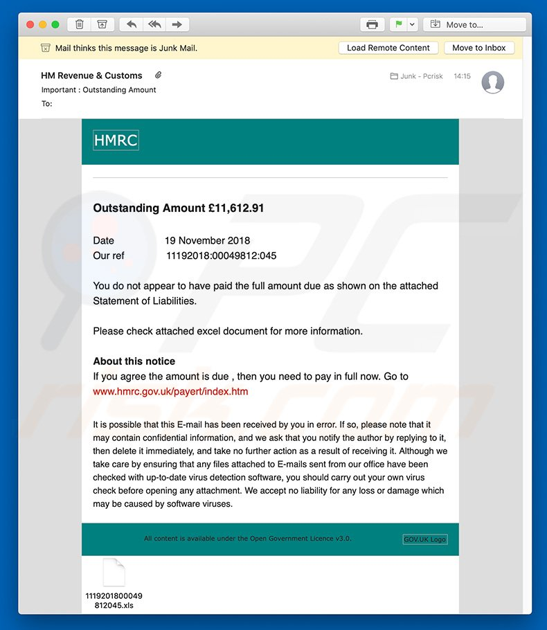 Another variant of HMRC Email Virus spam campaign