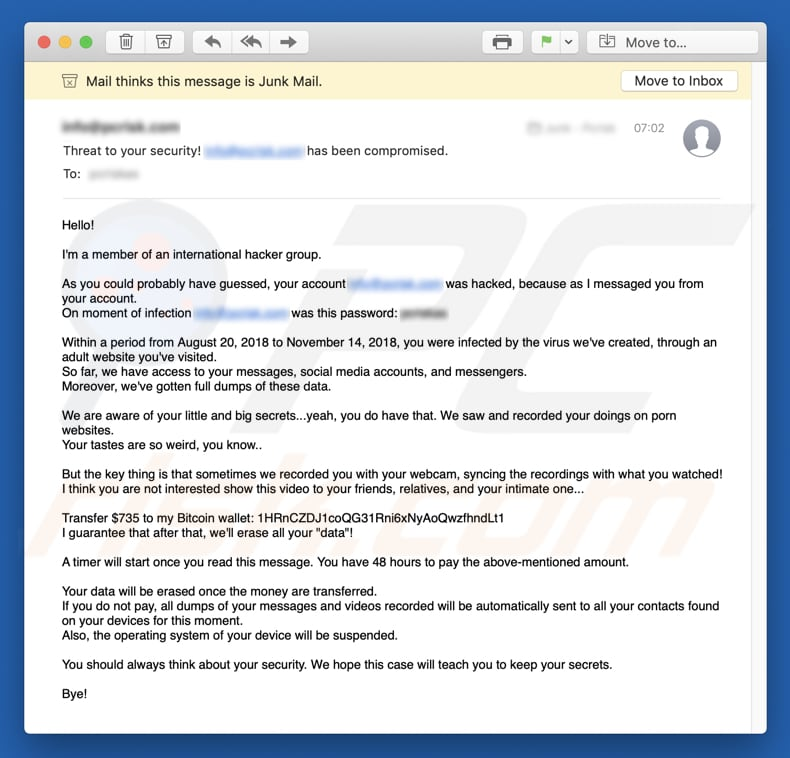 How to remove Member Of An International Hacker Group Email