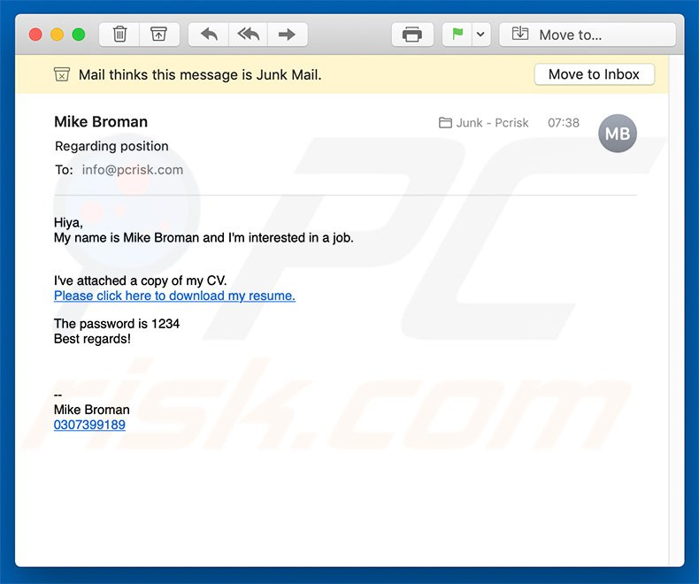 How To Remove Job Application Email Virus Virus Removal
