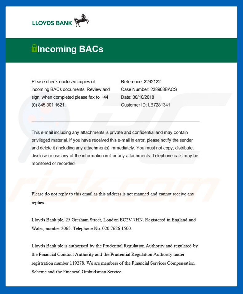 Lloyds Bank Email Virus email (sample 2)
