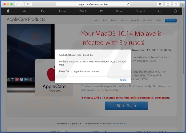 Your MacOS 10.14 Mojave Is Infected With 3 Viruses! scam