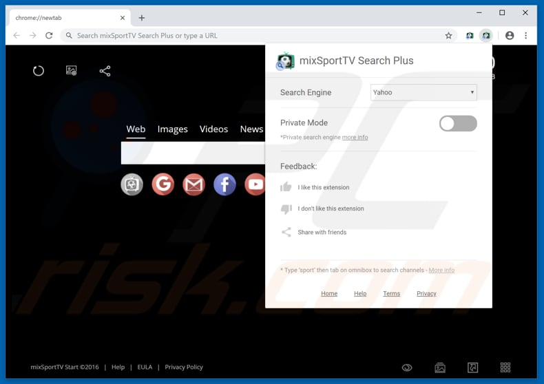 mixSportTV Search Plus browser-hijacking extension