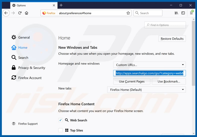 Removing searchalgo.com from Mozilla Firefox homepage