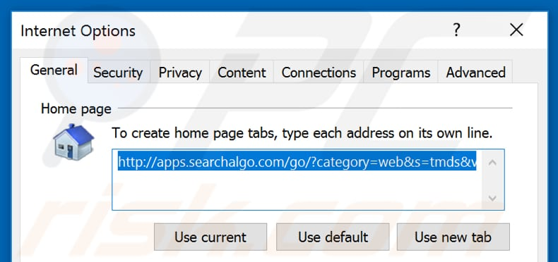 Removing searchalgo.com from Internet Explorer homepage