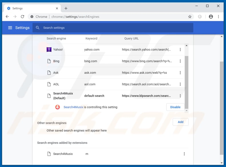 Removing blpsearch.com from Google Chrome default search engine