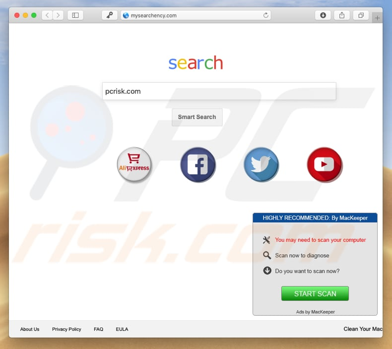 mysearchency.com browser hijacker on a Mac computer