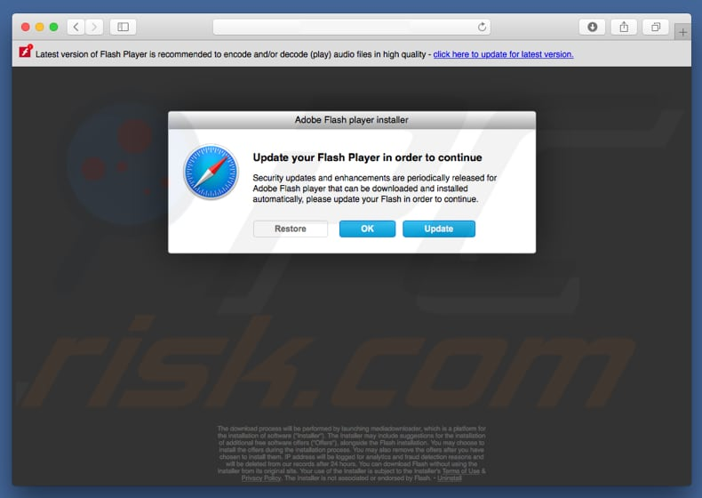 website promoting fake flash player installer promoting mysearchency.com