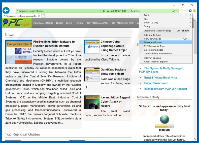 Removing Nuclearlytu Info Ads From Internet Explorer Step 1