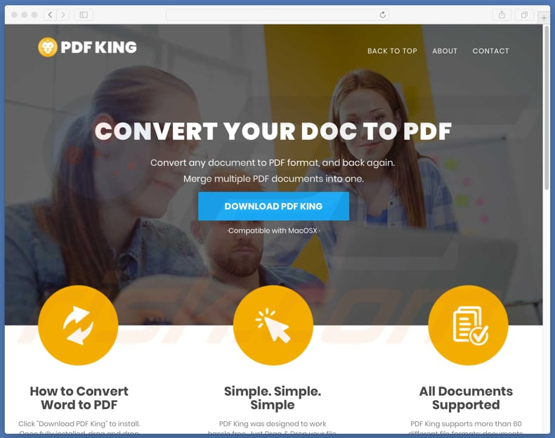website promoting PDF King unwanted app