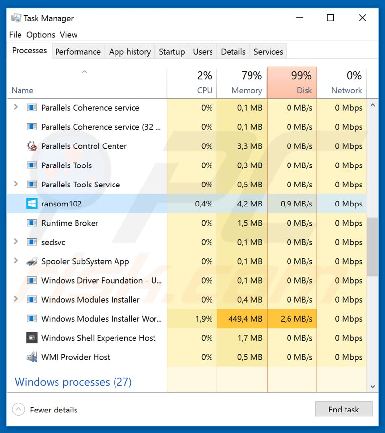 Ransomwared ransomware malicious process in task manager disguised as windows defender patch