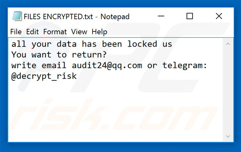 RISK ransomware text file