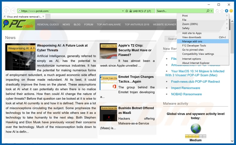 Removing Strialer Info Ads From Internet Explorer Step 1