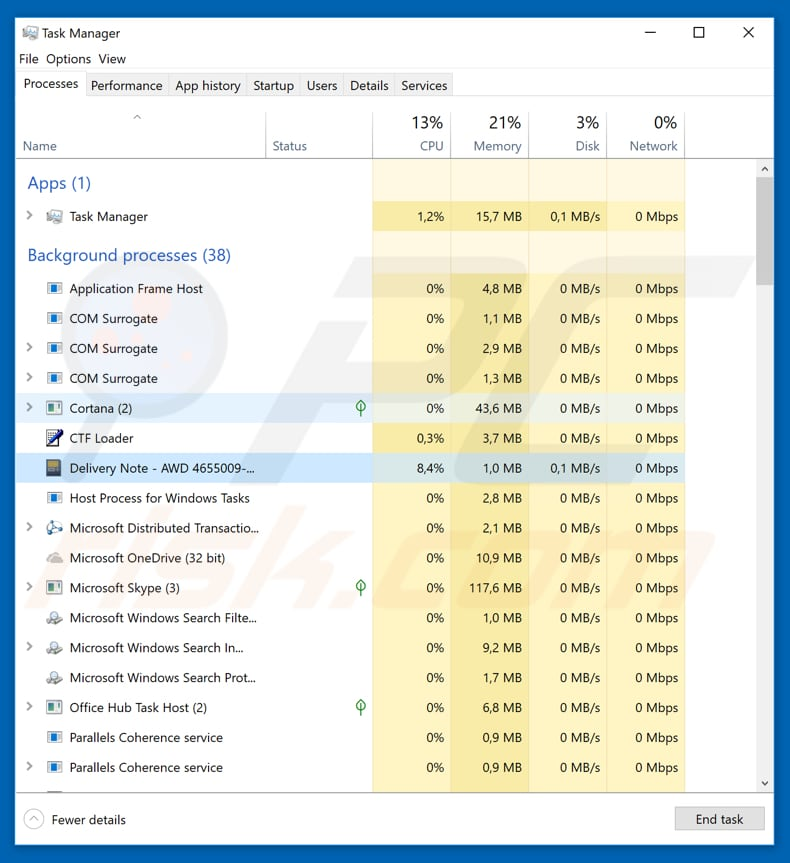 TNT Email Virus Delivery Note process in Task Manager