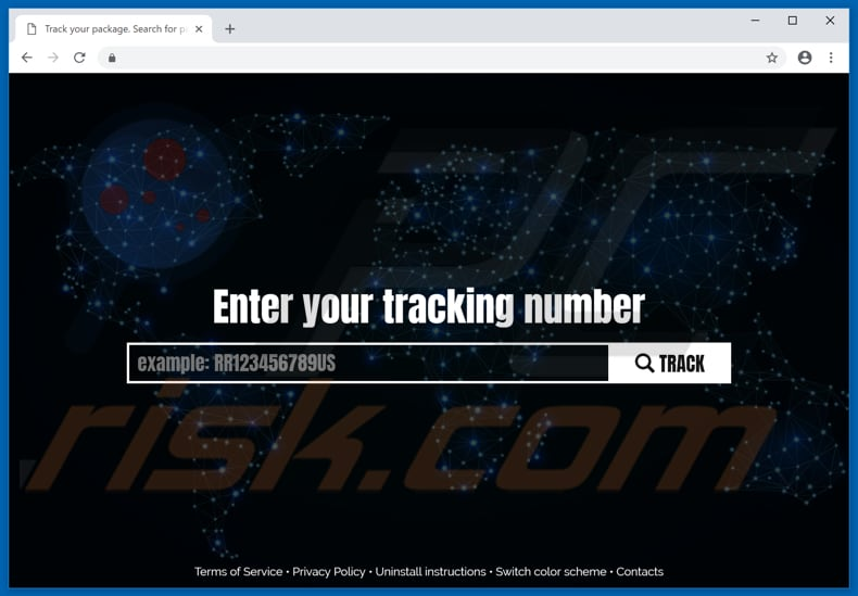 website promoting trackpackage.world fake search engine
