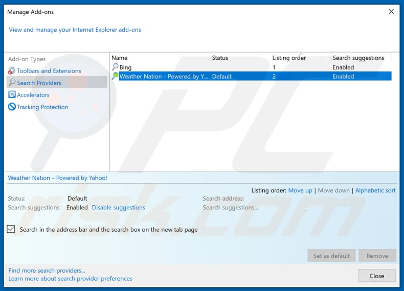 Removing search.hweathernation.co from Internet Explorer default search engine