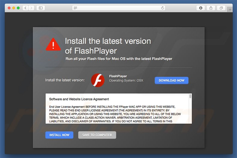 Fake Adobe Flash Player promoting XMRig CPU Miner
