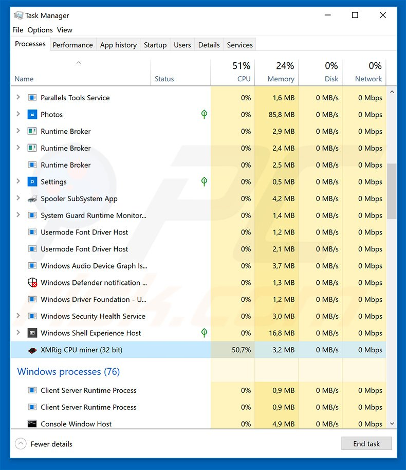 XMRig CPU Miner in Windows Task Manager