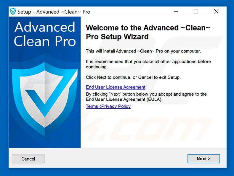 Advanced Clean Pro installation setup
