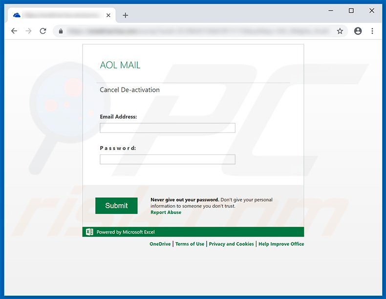 Fake AOL Mail website used for phishing