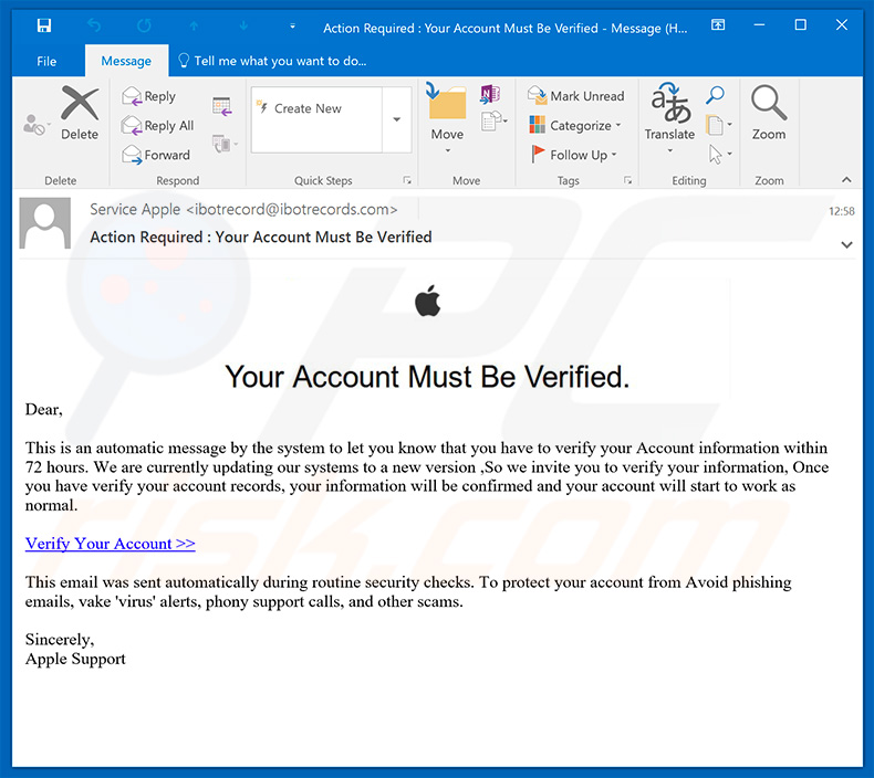 Apple Email Spam Campaign Phishing