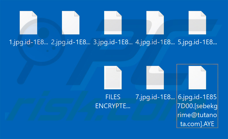 Files encrypted by AYE