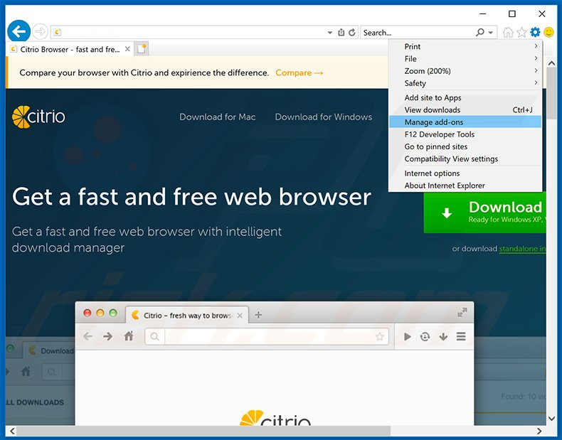 Removing Citrio Browser ads from Internet Explorer step 1