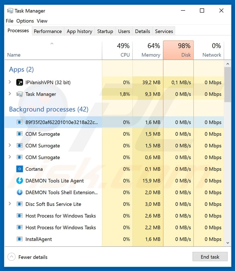 crypt0r malicious process in task manager