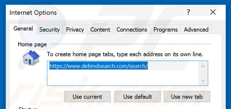 Removing defendsearch.com from Internet Explorer homepage