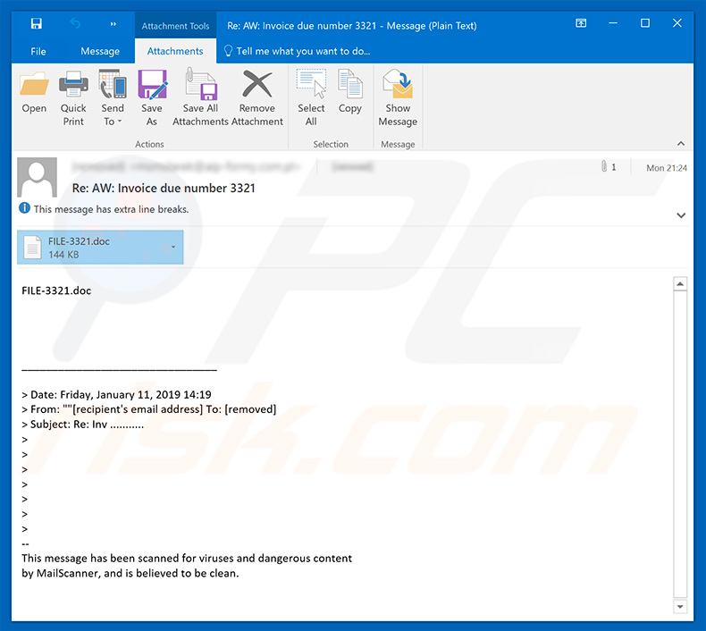 Emotet malware distributing email