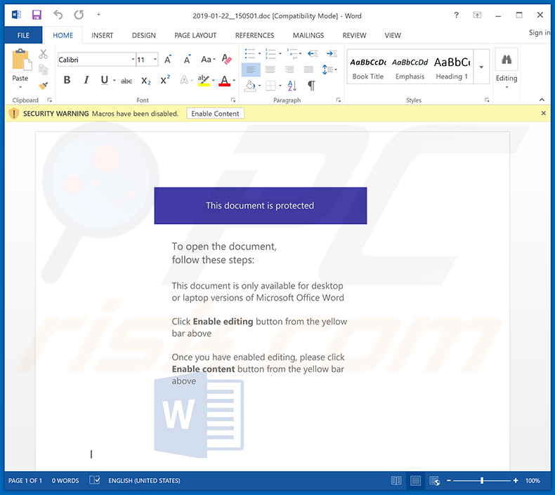 Infectious MS Word file distributing Emotet