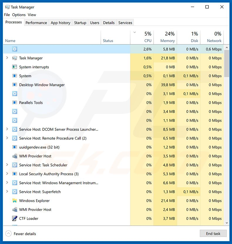 Emotet trojan in Windows Task Manager