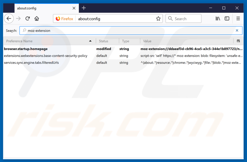 Removing search.hfasttrackerpackage.net from Mozilla Firefox default search engine