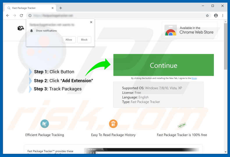 Website used to promote Fast Package Tracker browser hijacker