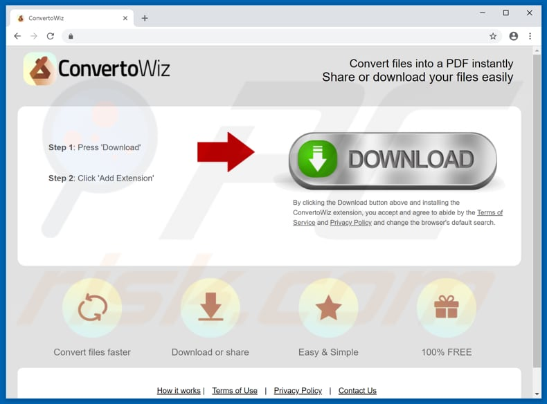 Website used to promote ConvertoWiz browser hijacker