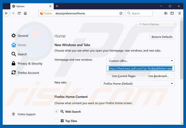 Removing feed.easy-pdf.com from Mozilla Firefox homepage