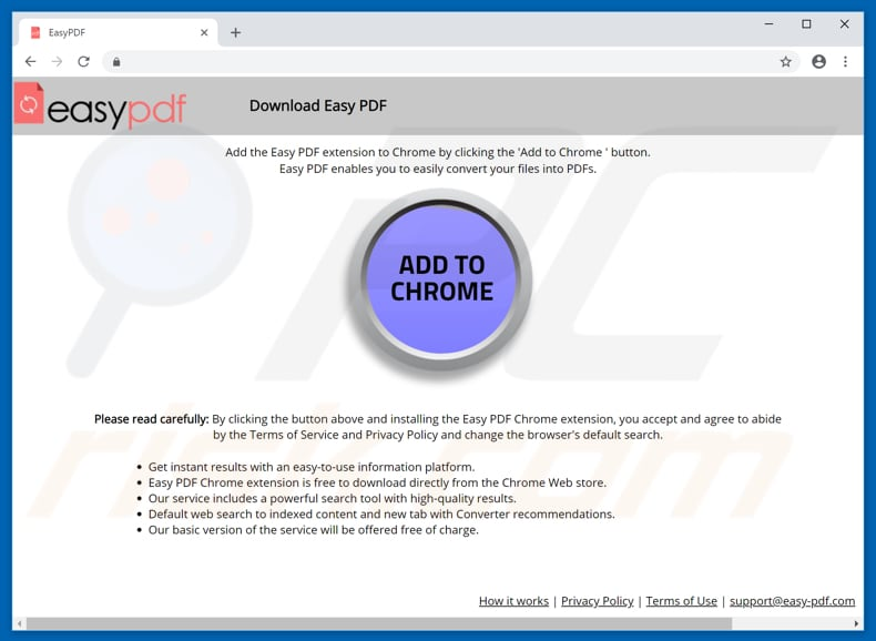 Website used to promote Easy PDF browser hijacker