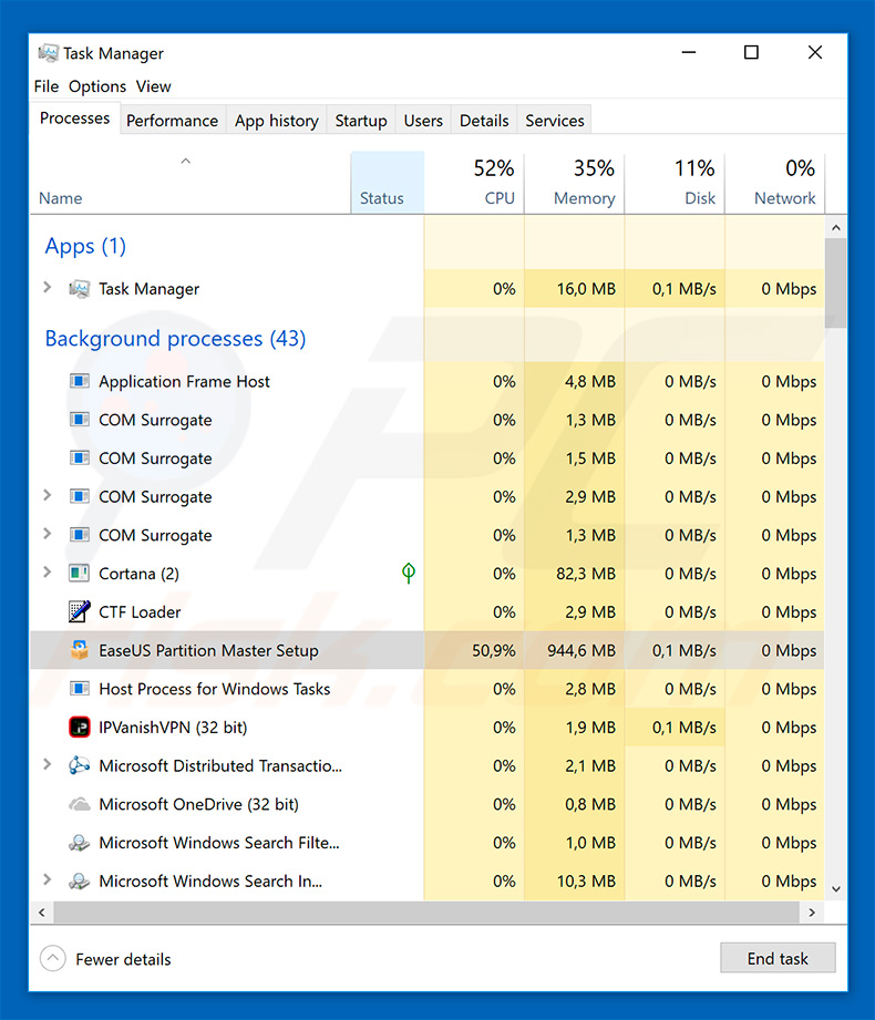 JobCrypter ransomware in Windows Task Manager