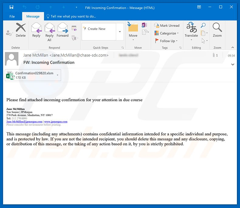 JPMorgan Chase email spam campaign proliferating TrickBot