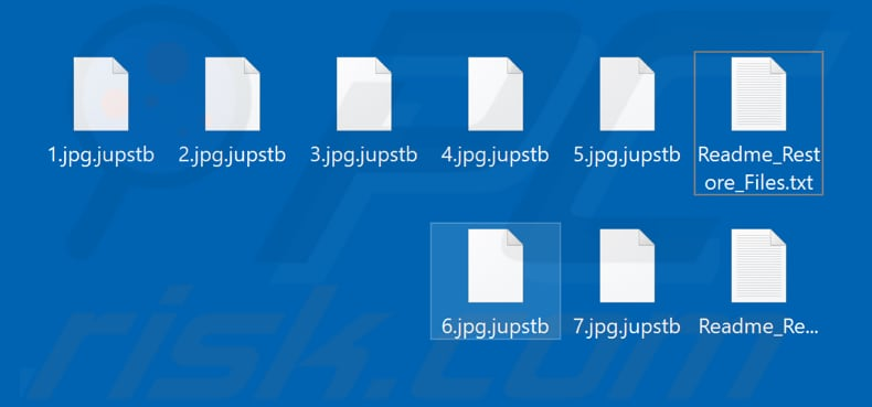 Files encrypted by Jupstb