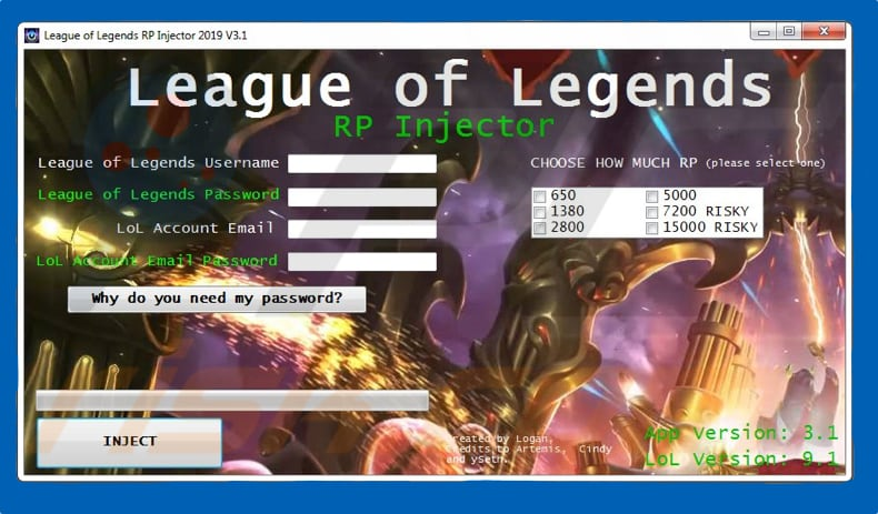 leagueoflegendsvirus homepage - Free Game Cheats
