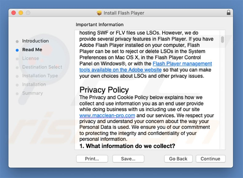Fake Adobe Flash Player installer used to spread Mac Cleanup Pro unwanted app (sample 2)
