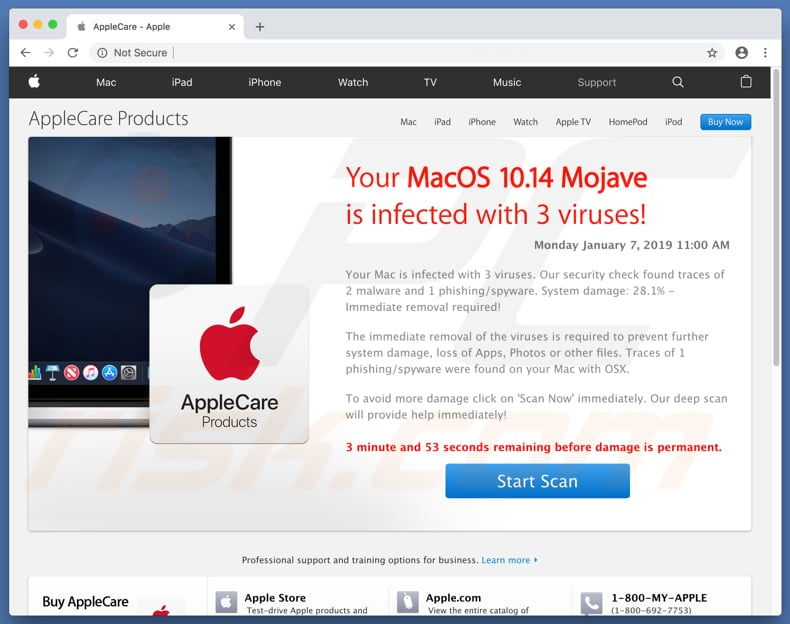 fake virus alert promoting Mac Tweak application