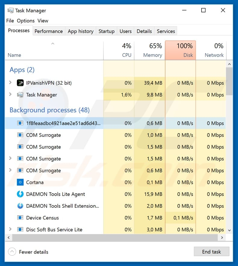 mdk4y ransomware process in task manager named as random string